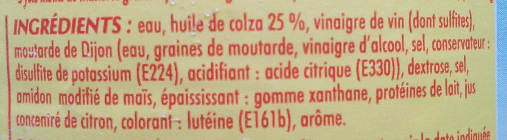 La Vinaigrette nature (25,5 % MG) - Ingrediënten - fr
