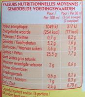 La Vinaigrette nature (25,5 % MG) - Voedingswaarden - fr