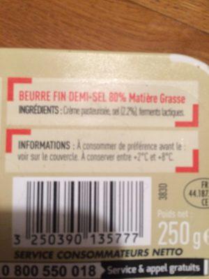 Beurre Demi-sel, - Ingrédients - fr