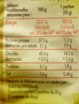 Chips à l'ancienne - Informations nutritionnelles - fr