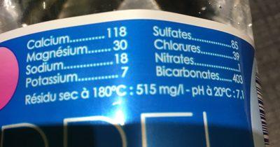 Ondine eau de source - Ingredients - fr