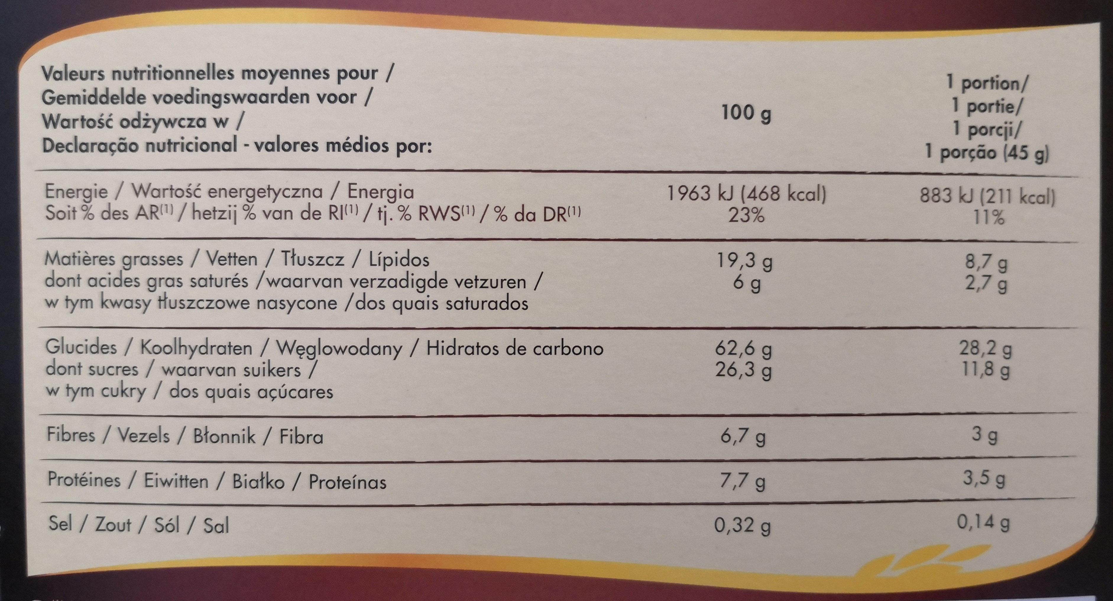 Muesli Crisp 3 chocolats - Informations nutritionnelles - fr