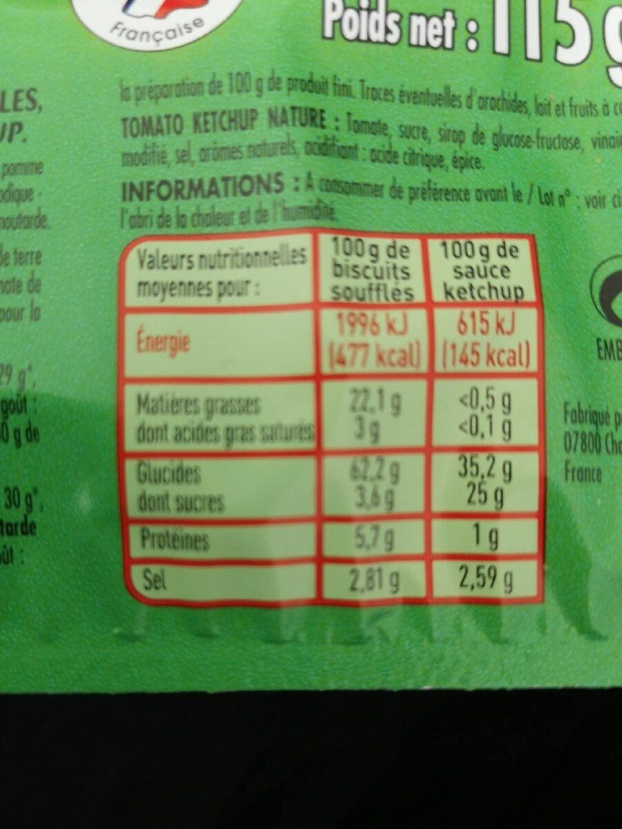 Cricfie's & sauce - Nutrition facts - fr