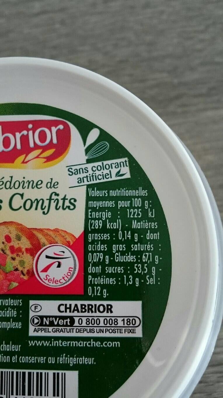 Macédoine de fruits confits - Nutrition facts - fr