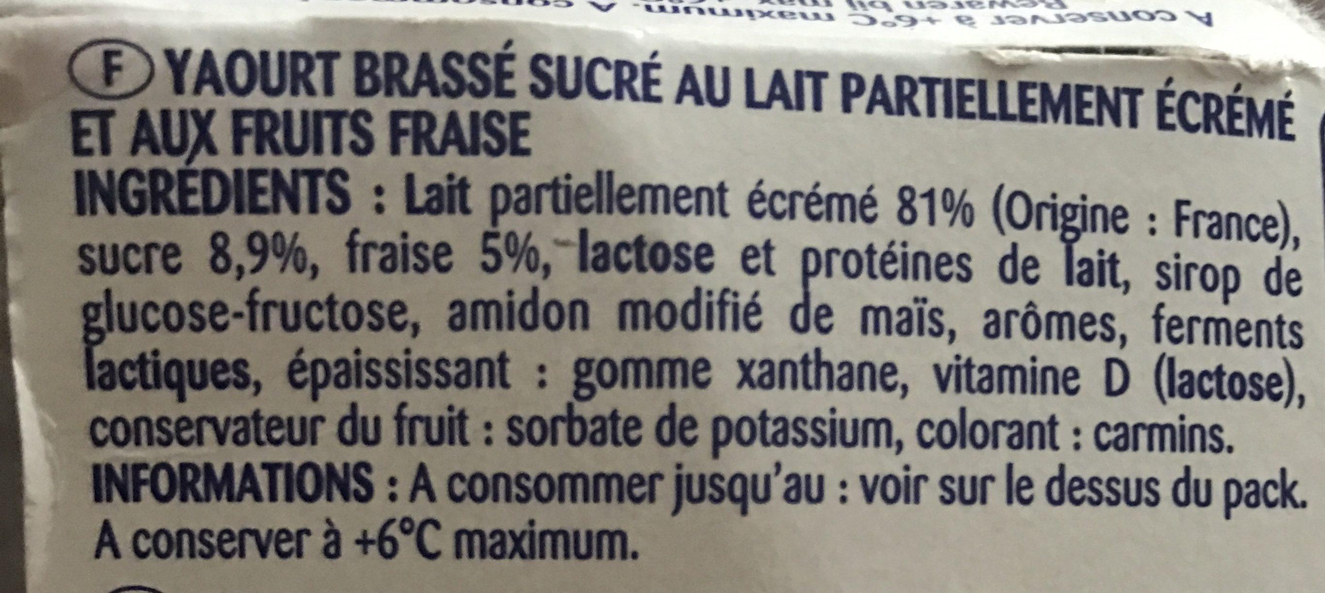 Onctueux Yt Bras Fraise - Ingrediënten - fr