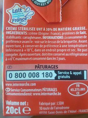 CRÈME ENTIÈRE FLUIDE 30% MAT. GR. - Ingrediënten - fr