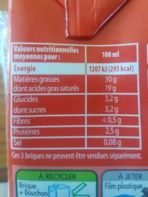 CRÈME ENTIÈRE FLUIDE 30% MAT. GR. - Voedingswaarden - fr