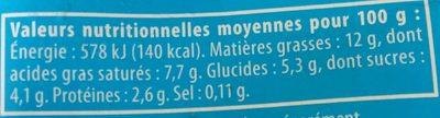Crème légère 12% - Informations nutritionnelles - fr