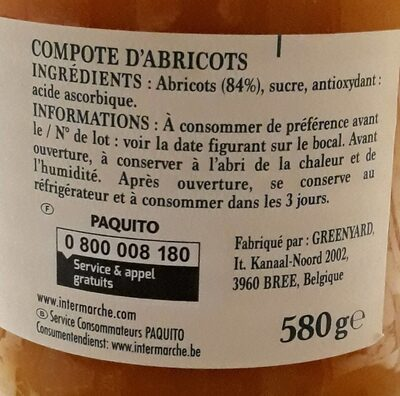 Paquito Compote d'Abricots - Ingredients - fr