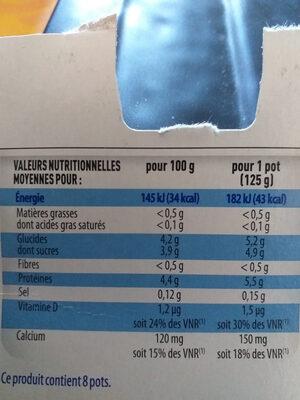 Yaourt maigre aromatisé saveur vanille - Informations nutritionnelles