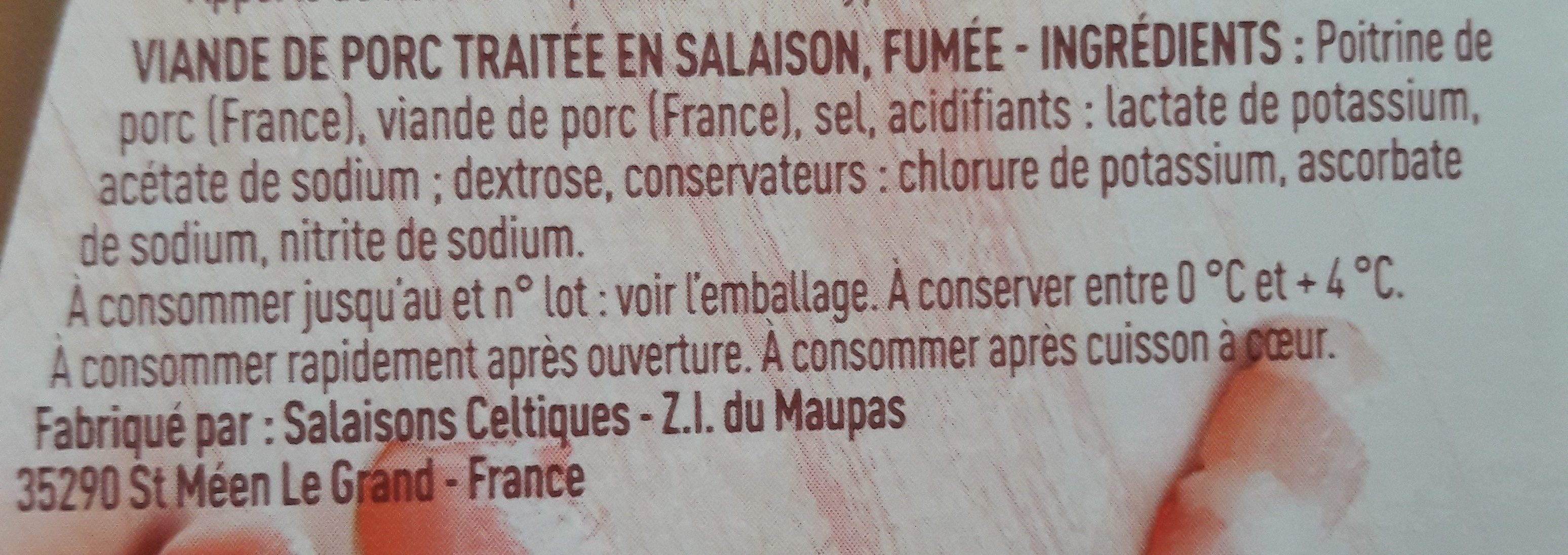 Allumettes Fumées - Ingredients - fr