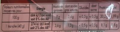 Mon Gourmand Fumé au Bois de Hêtre - Informations nutritionnelles - fr