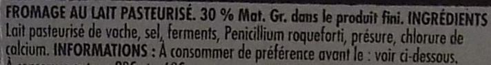 Bleu des Causses AOP (30 % MG) - Ingrédients - fr