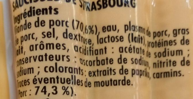 Knack pur porc - Ingrediënten - fr