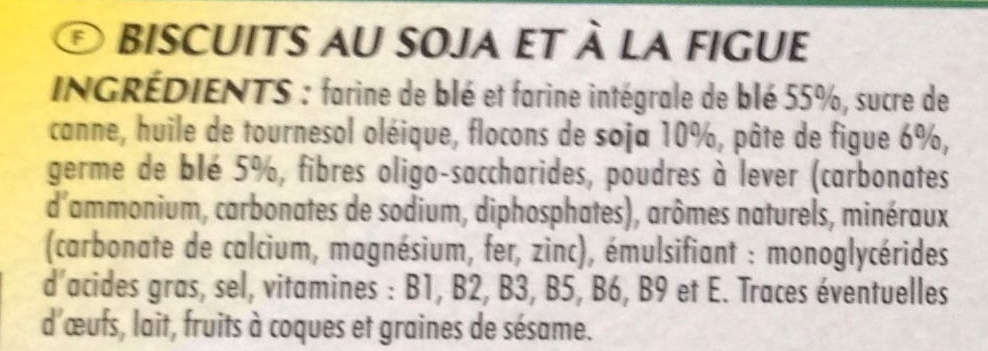 Biscuit soja figue - Ingrediënten - fr