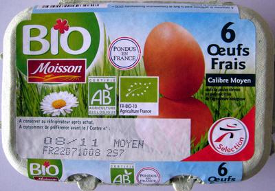 6 oeufs frais biologiques de poules élevées en plein air - Product - fr