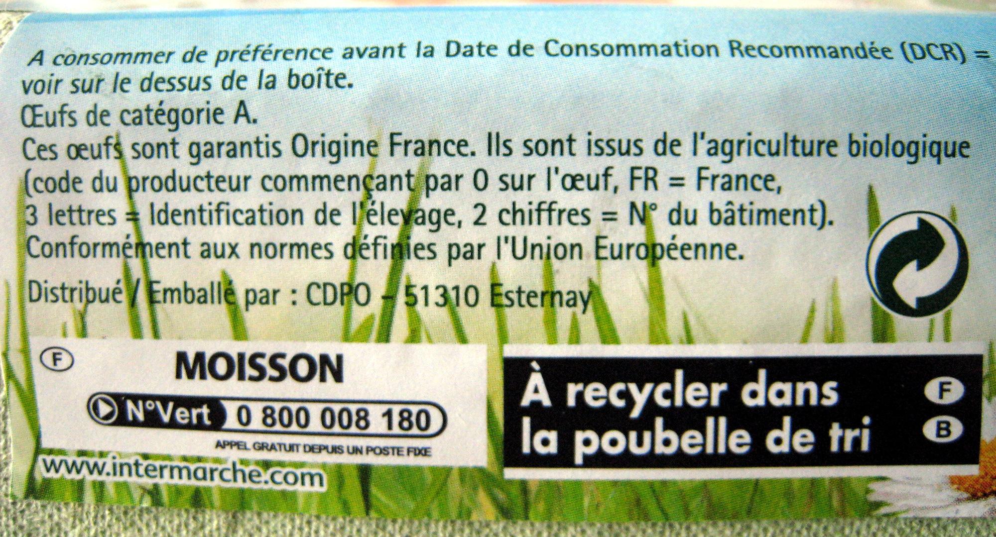 6 oeufs frais biologiques de poules élevées en plein air - Ingrediënten - fr