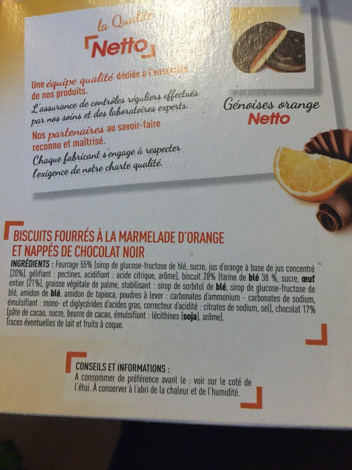 Génoises fourrées orange - Ingredients