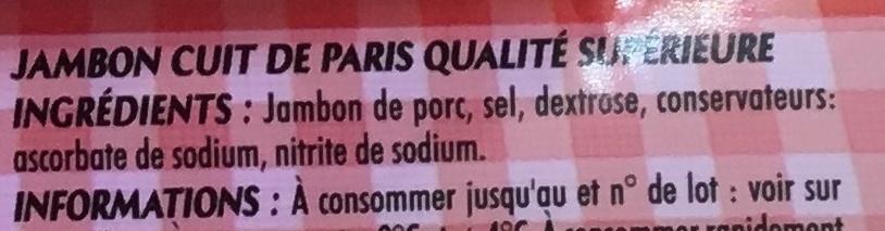 Mon Paris sans couenne - Ingredients