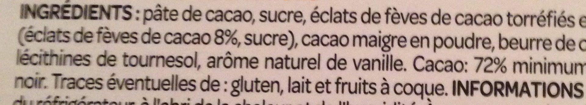 Dégustation Noir aux éclats de fèves de cacao - Ingredients
