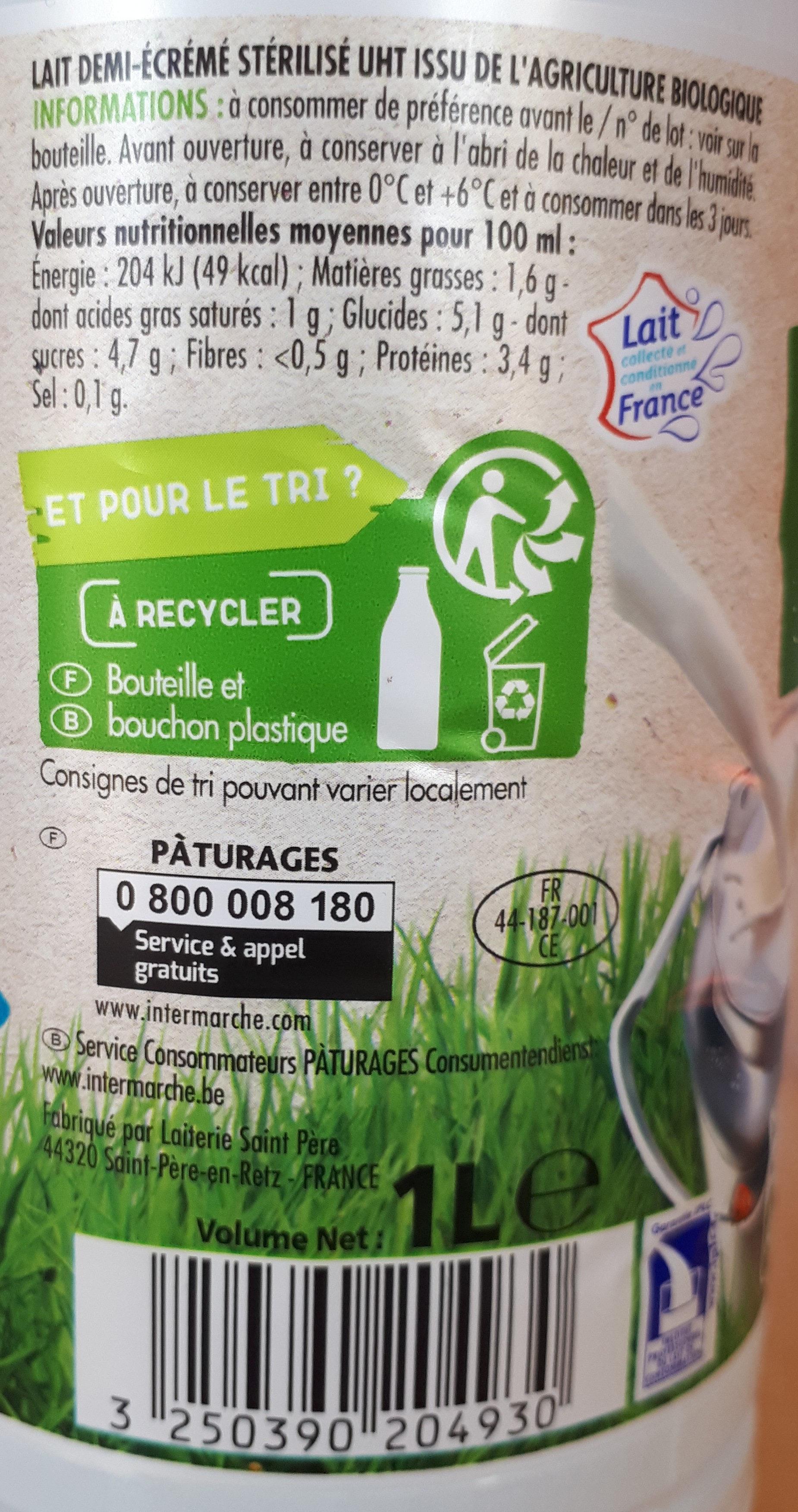 Lait demi écrémé BIO - Ingredients - fr
