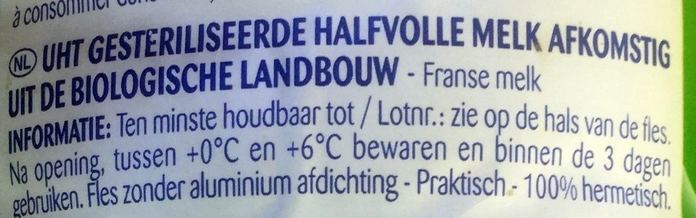 Lait demi écrémé BIO - Ingrediënten - nl