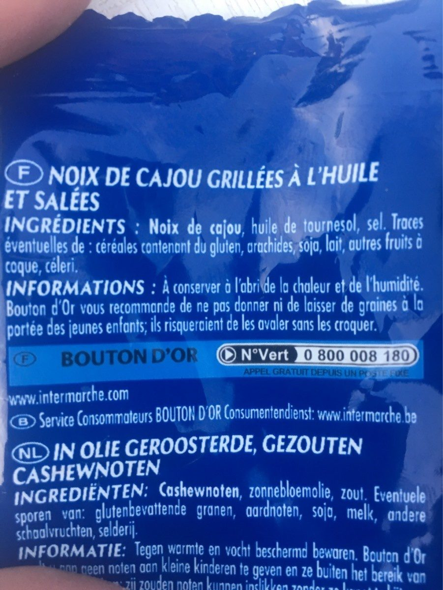 Noix de cajou grillées et salées - Ingrédients - fr