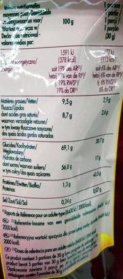 Mélange exotique - Nutrition facts - fr