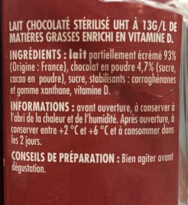 Lait Chocolaté - Ingrédients - fr