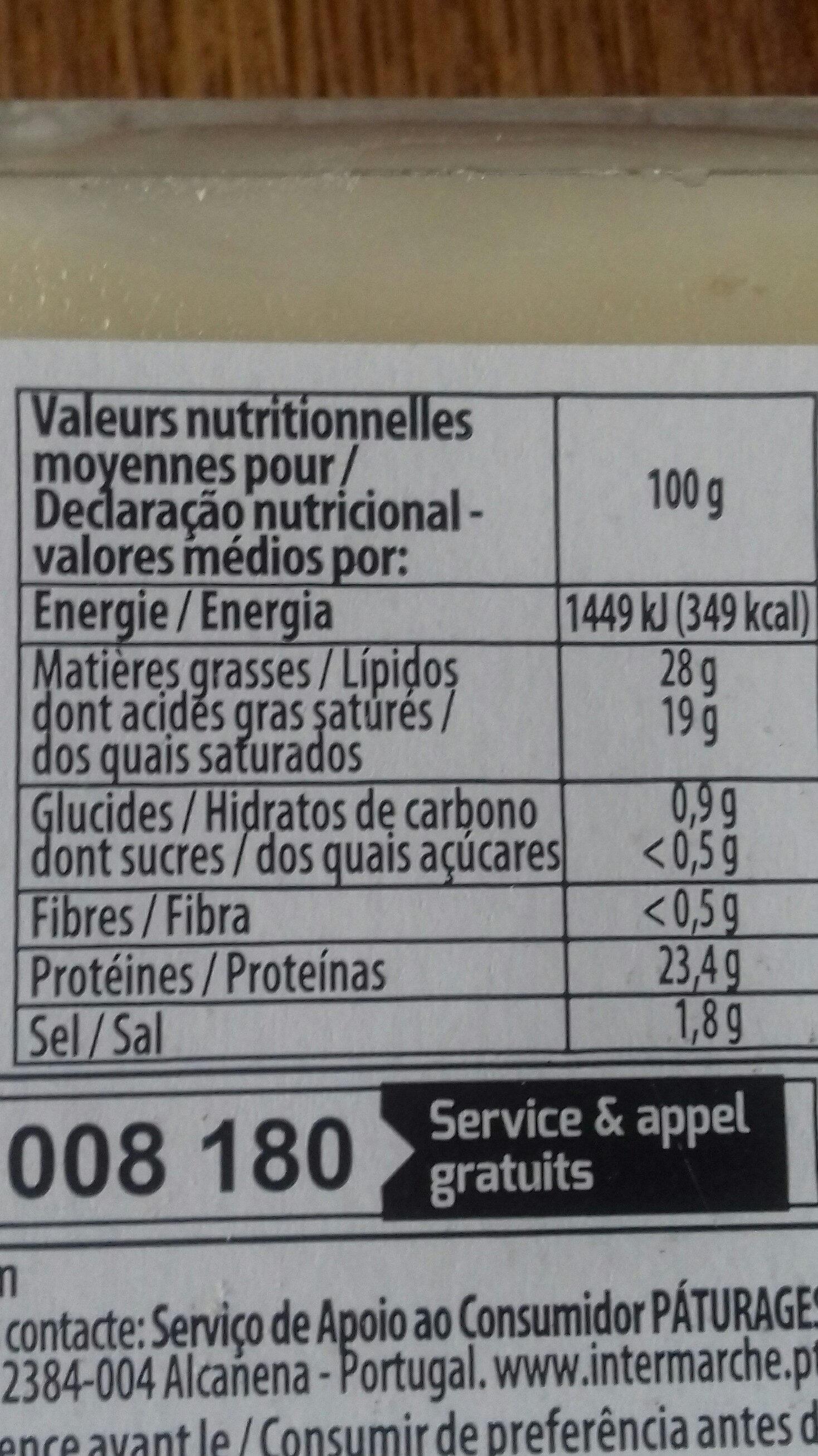 Raclette en tranches - Nutrition facts - fr