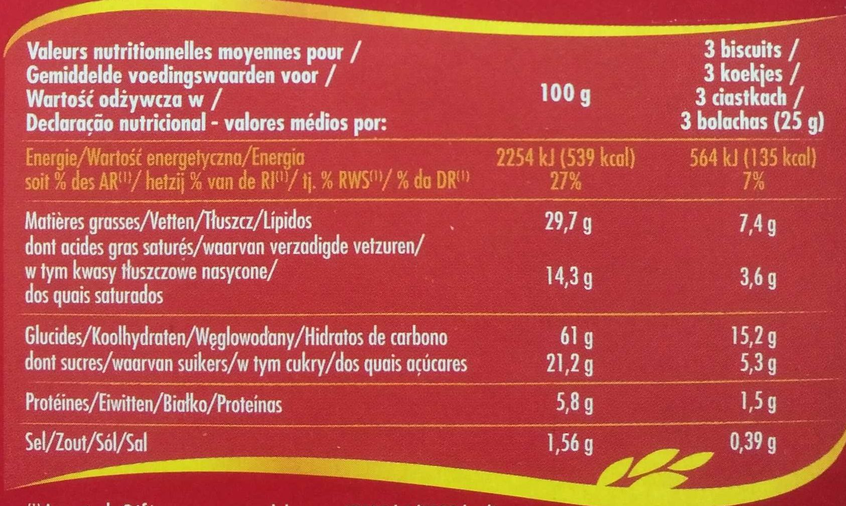 Palmiers - Nutrition facts