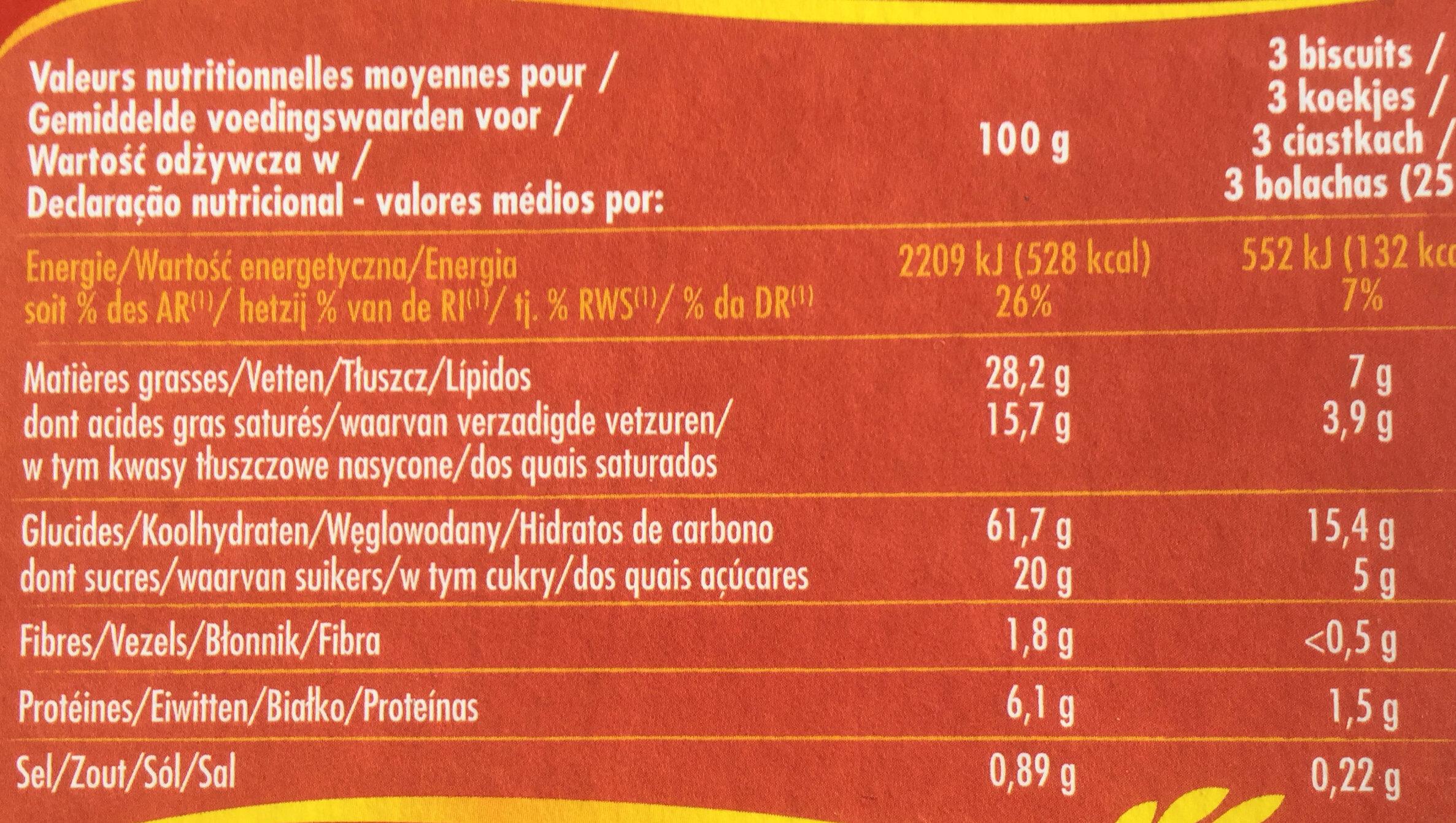 Feuilletés palmiers croustillants - Wartości odżywcze - pl