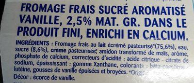 Fromage frais saveur vanille 2.7% mat. gr. dans le produit fini Pâturages - Ingrediënten