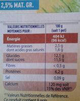 Fromage frais saveur vanille 2.7% mat. gr. dans le produit fini Pâturages - Voedigswaarden