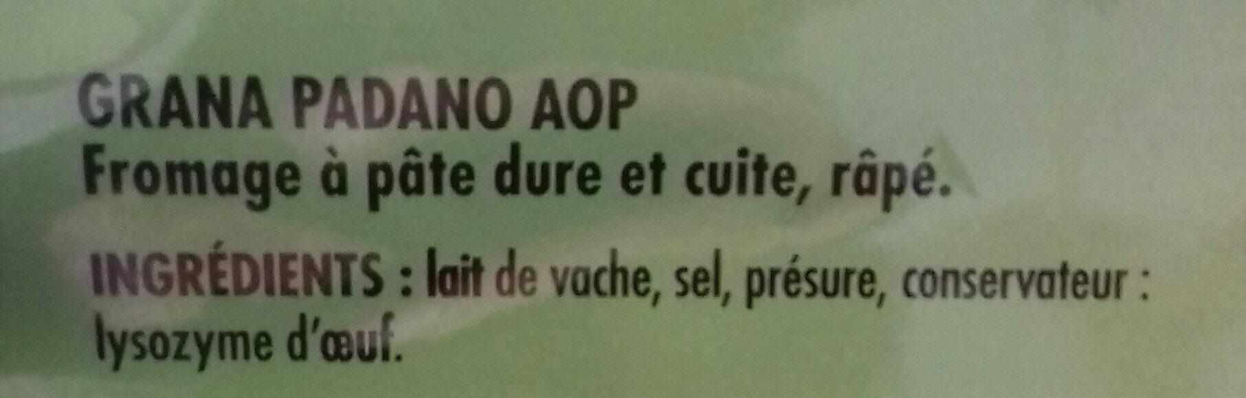 Grana Padano AOP râpé - Ingrédients - fr