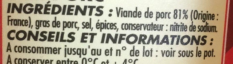 Rillettes du Mans - Ingredients