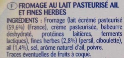 Pâturages Printendre ail et fines herbes - Ingrediënten - fr
