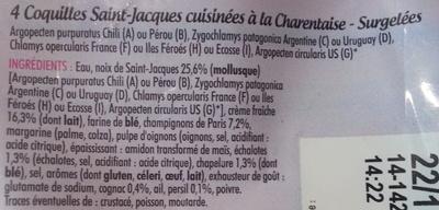 4 Coquilles Saint-Jacques, Recette à la Charentaise, Surgelé - Ingrédients - fr