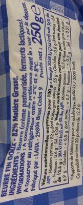 Beurre moulé doux - Ingrédients
