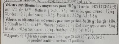 Tommette de Domessin - Nutrition facts - fr