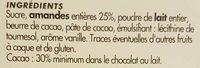 Chocolat Lait Amandes Entières - Ingredients - fr