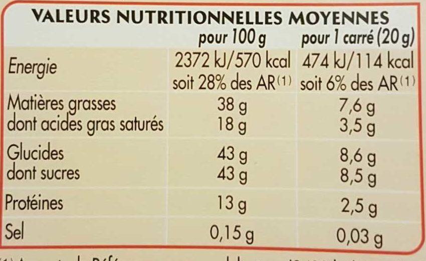 Chocolat Lait Amandes Entières - Nutrition facts - fr