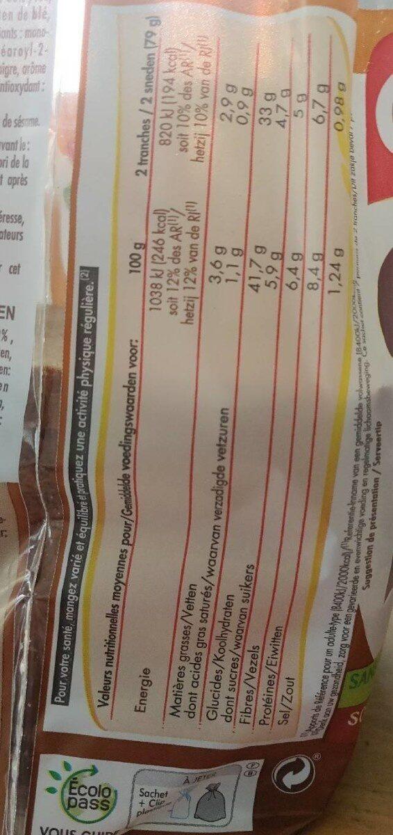 Chabrior Grand Mie complet - Informação nutricional - fr