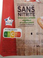 Jambon supérieur sans couenne label rouge - Ingrédients - fr