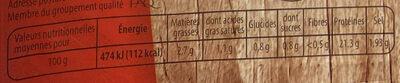 Jambon supérieur sans couenne label rouge - Informations nutritionnelles - fr