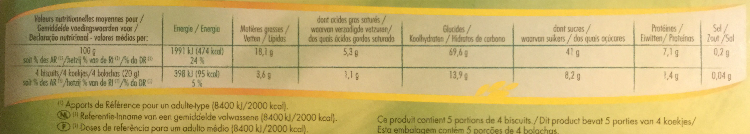 Tuiles aux Amandes - Voedingswaarden