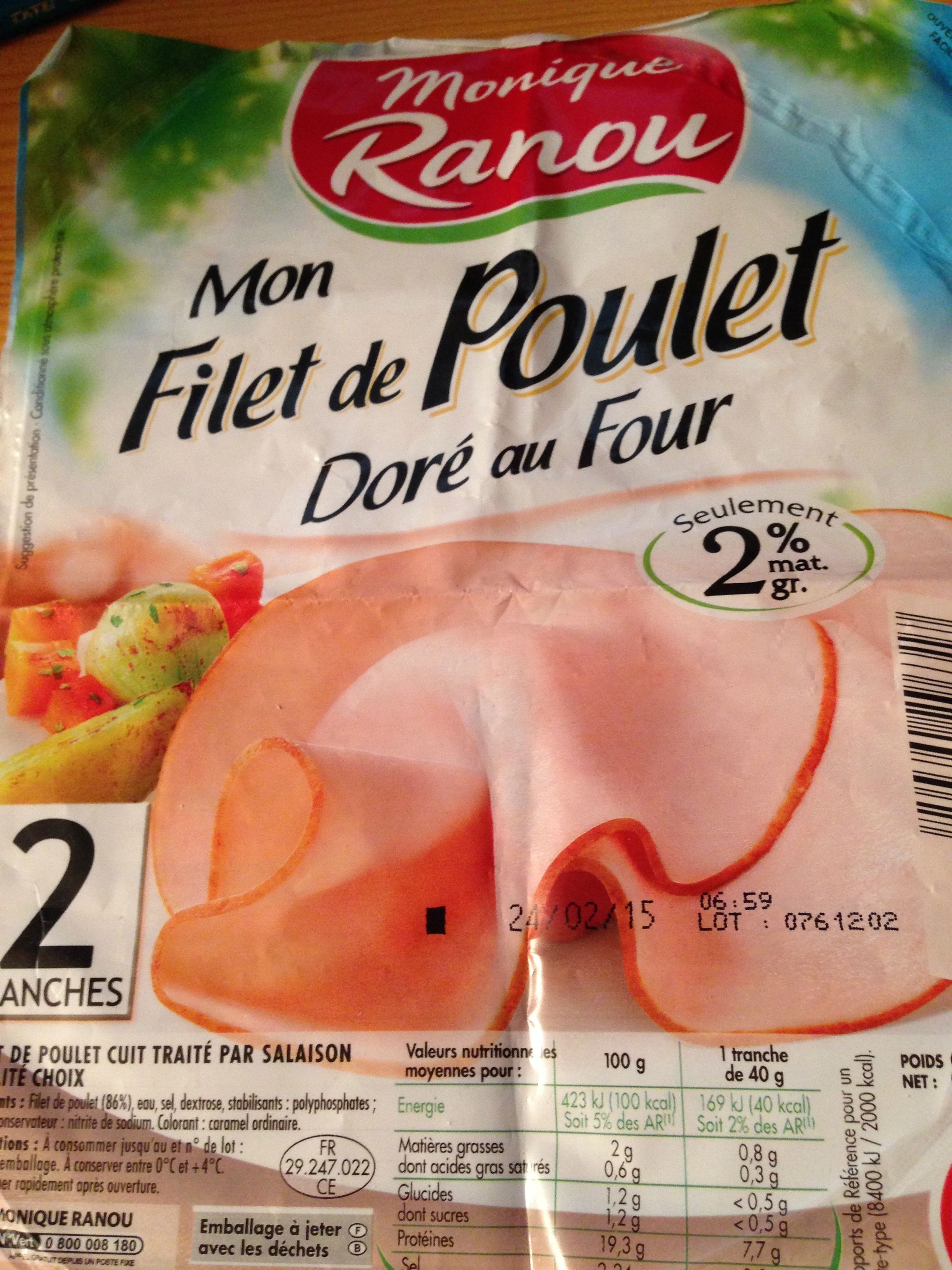 Mon Filet de Poulet - 2 Tranches - Doré au Four - Product - fr