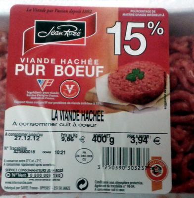 La Viande Hachée (15 % MG) - Pur Bœuf - Ingrédients