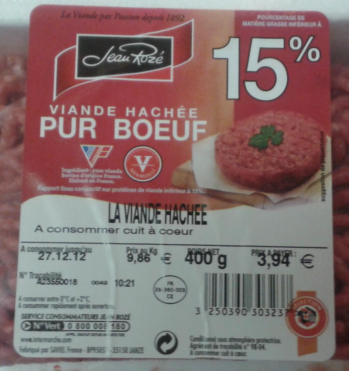 La Viande Hachée (15 % MG) - Pur Bœuf - Informations nutritionnelles