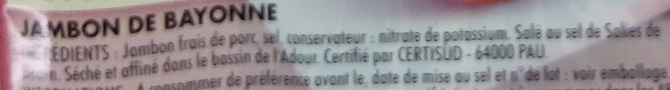 Jambon de Bayonne 5tr. - Ingrediënten